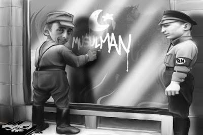 Jedna z mnoha Zemmourových karikatur od politicky uvědomělých autorů.